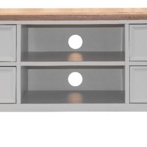 Hannah Four Drawer Shelf Grey Oak TV Unit