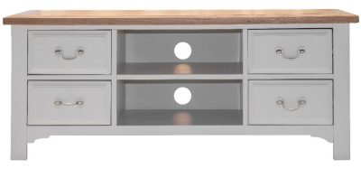 Hannah Four Drawer Shelf Grey Oak TV Unit