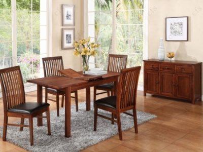 Hartford Acacia 4' Ext. Dining Set (With Hanover Chairs)