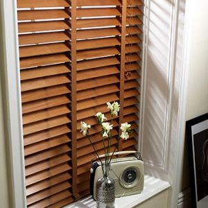 Pecan Wood Slat Venetian Blinds