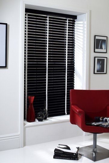 Ebony Wood Slat Venetian Blinds