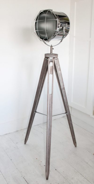 Silver Tripod Mesh Head Floor Lamp