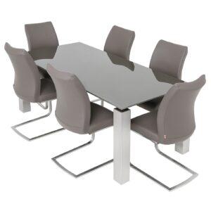 Terenzo 1.8m Grey Glass/Gloss Table