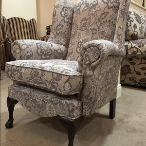 Queen Anne Grey Flower Chair