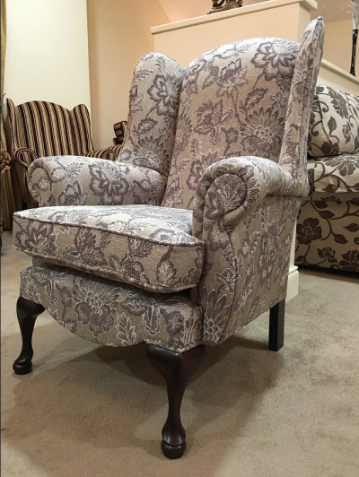 Queen Anne Grey Flower Chair
