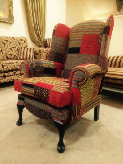 Queen Anne Patchwork Red Chair