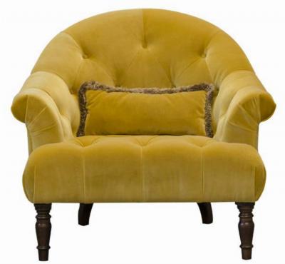 Imogen Plush Turmeric Button Chair