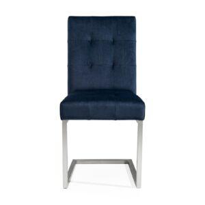 Paroo Upholstered Cantilever Chair (Dark Blue Velvet)