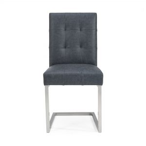 Paroo Upholstered Cantilever Chair (Motted Black Faux Leather)