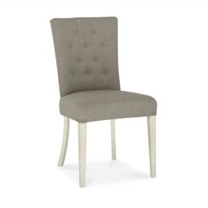 Dumaresq Aged Oak & Antique White Upholstered Chair (Titanium Fabric)