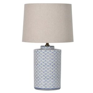 Blue and White Crackle Lamp with Shade