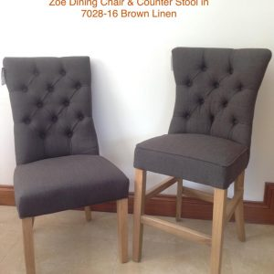 Zoe Counter Barstool Dark Brown Linen