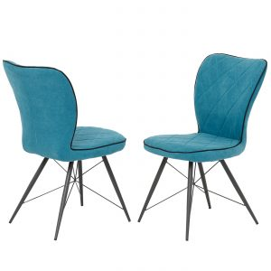 Voges Teal Fabric Dining Chair