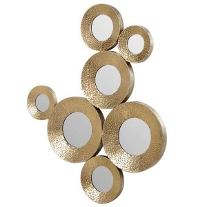 Gold Circles Mirrored Wall Decoration