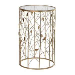 Gold Leaves Detail Side Table