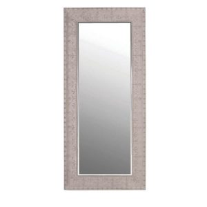 Large Grey Embossed Metal Mirror