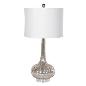 'Mercury' Glass Table Lamp with White Shade