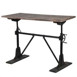 Wood and Iron Adjustable Table