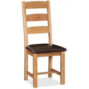 Salisbury Slatted Chair Brown PU Seat