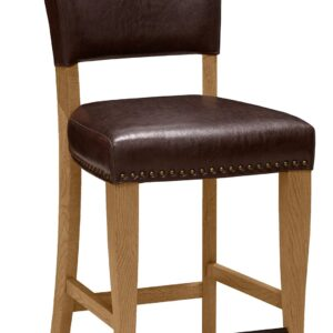 Belgrave Rustic Oak Bar Stool Faux Leather Espresso