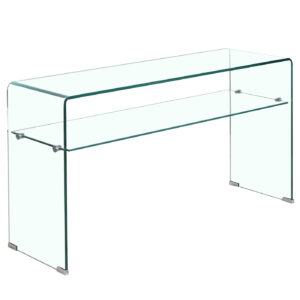 Gorbea Clear Glass Console Table with Shelf