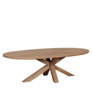 Tambour Grey Oiled Barkington 2.4m Large Oval Table / Double X Pedestal Base