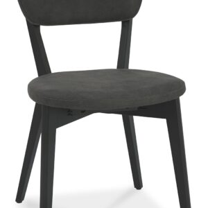Vintage Weathered Oak + Peppercorn Upholstered Back Dining Chair Dark Grey