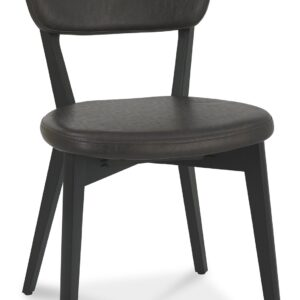 Vintage Weathered Oak + Peppercorn Upholstered Back Dining Chair Old West