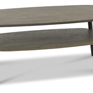 Vintage Weathered Oak + Peppercorn Coffee Table with Shelf